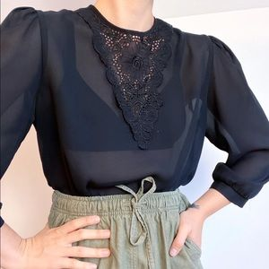 Vintage 1980's sheer gothic blouse (small)
